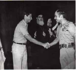 King Hussein shaking hands with me at an official function
