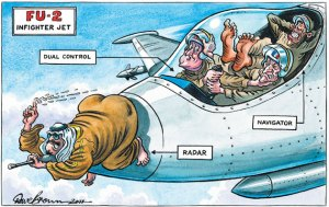 a great cartoon from the UK Independent. It depicts The Brit PM and French president fighting over controls of the plane while in the back seat asleep is Obama      ( leading from behind) with the Emir of Qatar at the point of the aircraft with a wind direction detector  to ascertain the political winds to follow.