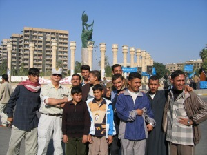 with young Iraqis in Baghdad late 2003