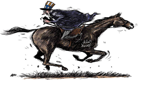 Horse reads in Arabic: Middle East. (Courtesy of Ash Sharq Awsat Newspaper)