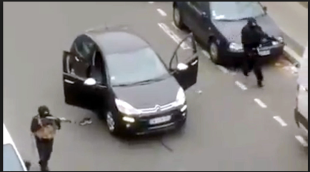 Video footage captured the terrorist attack Wednesday on French newspaper Charlie Hebdo. (Reuters)