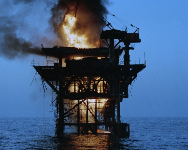 Iranian oil rig destroyed